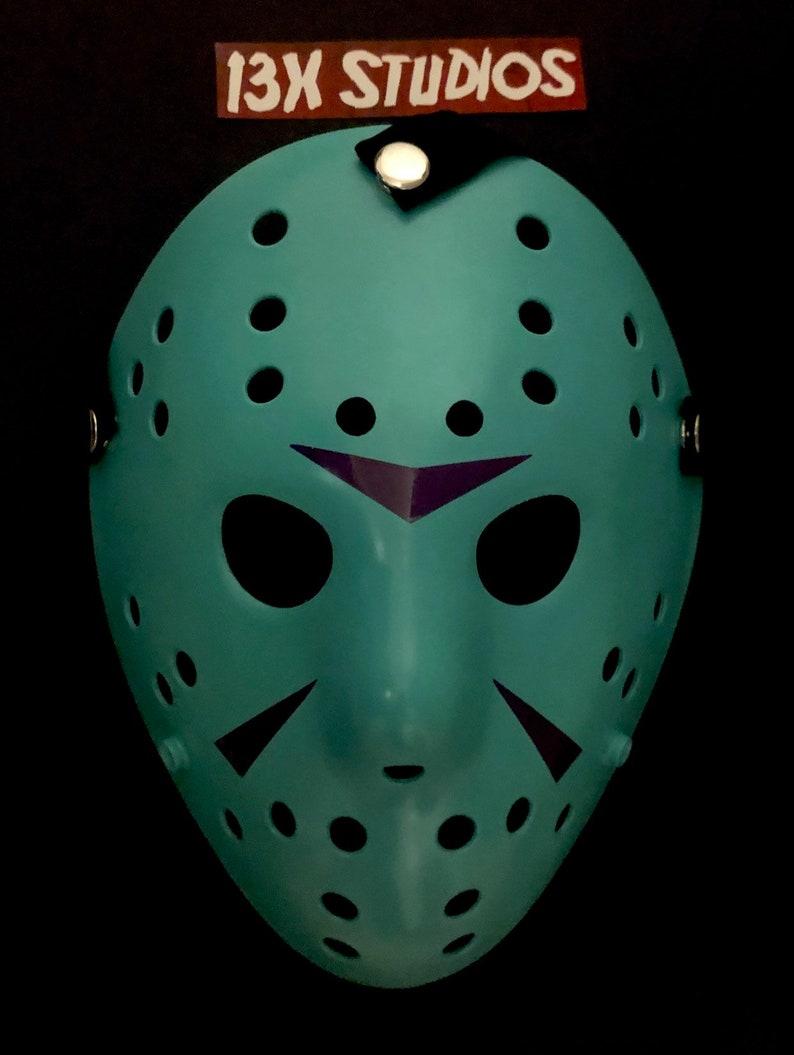 Neon 8Bit NES Jason 13X Studios Custom Hockey Mask image 0