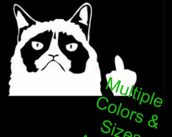 Grumpy Cat Flipping Off  ||  Funny Vinyl Decal