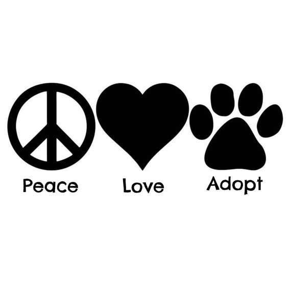 Peace love adopt dog rescue decal vinyl decal sticker