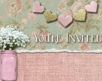 Rustic Canvas and Paper Invitations