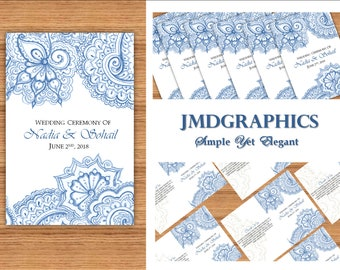Navy Indian Inspired  Wedding Program Template,  Printable Wedding Program