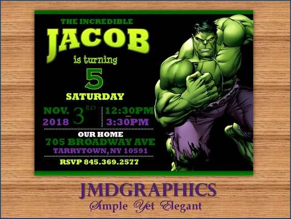 Hulk Green Invitation BirthdayHulk Birthday