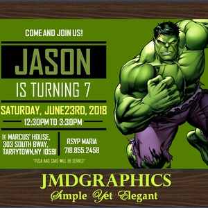 Hulk and Flash Party 183 Superheroes Siblings Birthday Superheroes Brothers Invitation Joint Superheroes Party Flash and Hulk Invitation
