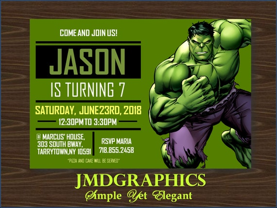 INSTANT DOWNLOAD Hulk Invitation BirthdayHulk Birthday