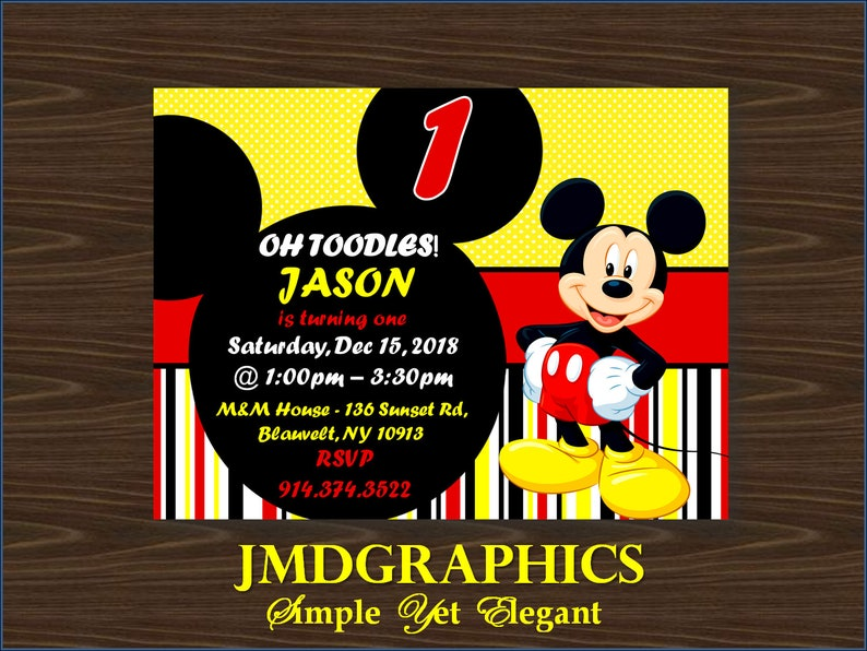 INSTANT DOWNLOAD Mickey Mouse 1st Birthday Invitation Girl Or