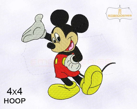 Happy And Cool Mickey Mouse Embroidery Design 4x4 Hoop Etsy