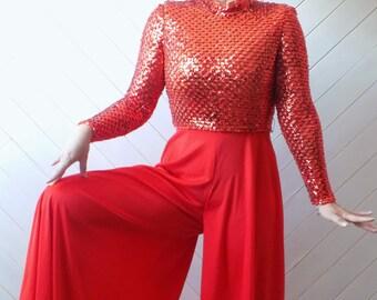VA VA VROOM   Vintage 1970's Lilli Diamond Sequin Jumpsuit   S M