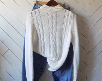 Off white cableknit | Vintage 80's slouchy cableknit sweater | S M