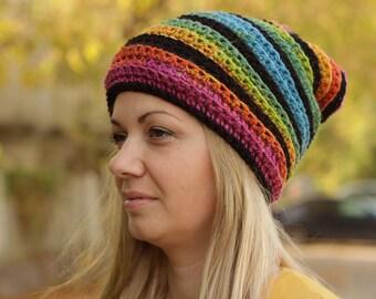 Regenbogen Mütze Hut Häkeln Häkeln Bunte Mütze Slouchy Hut Etsy