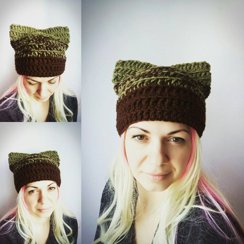 Gato verde sombrero marrón coño sombrero gato Crochet sombrero | Etsy