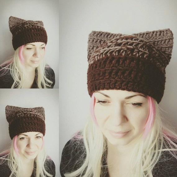 Gato marrón sombrero coño Chocolate sombrero gato Crochet | Etsy