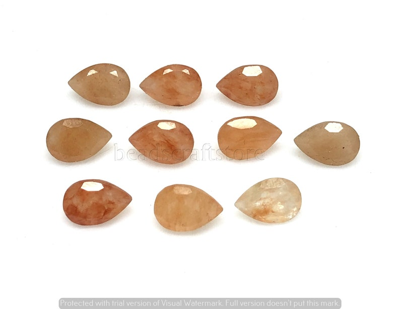 Size- 9x6 MM Peach Moonstone Faceted gemstone Natural Peach Moonstone Pear Cut Cabochon Lot AAA Weight- 15 CTS Loose Gemstone