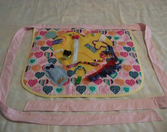 Fidget Apron Activity Quilt Mat Dementia Alzheimers Sensory Autism Buttons Ribbons Squeaker Bling Beads Zipper Lots To Play With