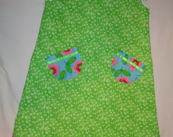 Sun Dress Green Blue Pink Flowers Pockets With Ribbon Size 6