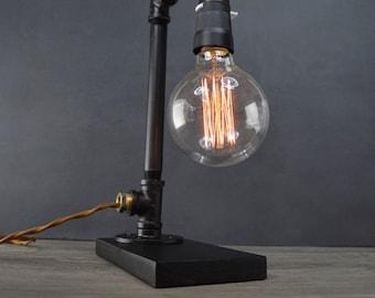 AMPERE black + bronze pipe lamp