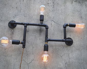 Industrial Pipe Wall Lamp - 4 Light
