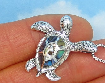 Natural Abalone Sea Turtle Pendant or Necklace - Solid .925 Sterling Silver - Paua Shell - Sea Shell - Hawaii Necklace - nk9-260963