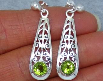 Genuine Peridot Earrings - Sterling Silver - Jali Filigree - Long Dangles - Pear Shape - Posts - Studs - SA211408