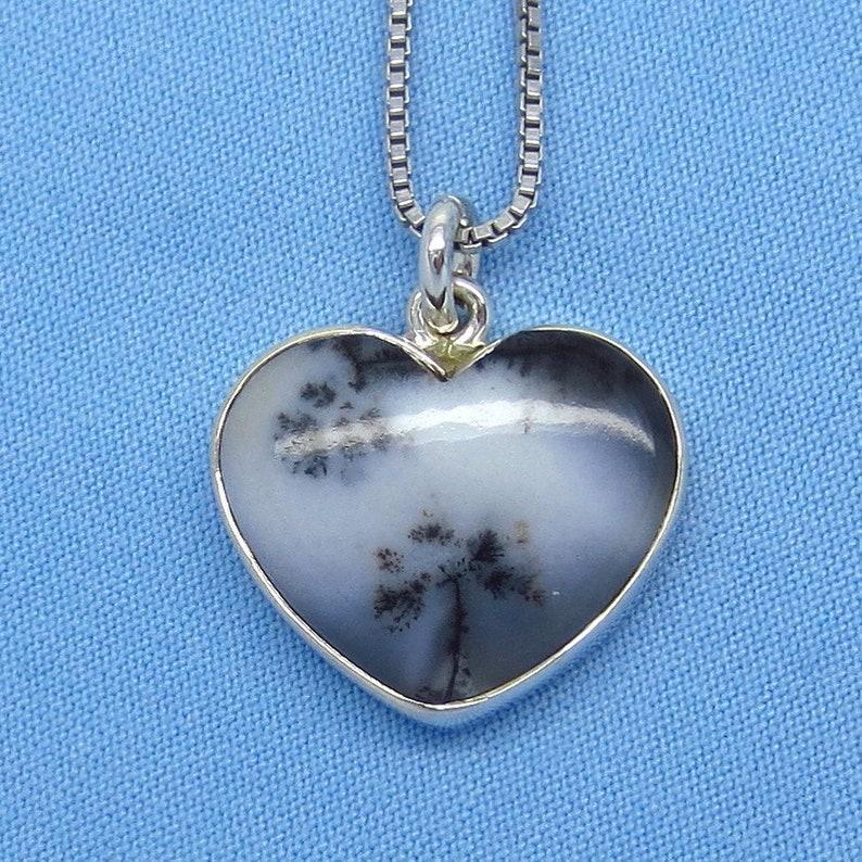 Dendrite Agate Small Merlinite Dendrite Opal Heart Necklace su160776 Sterling Silver