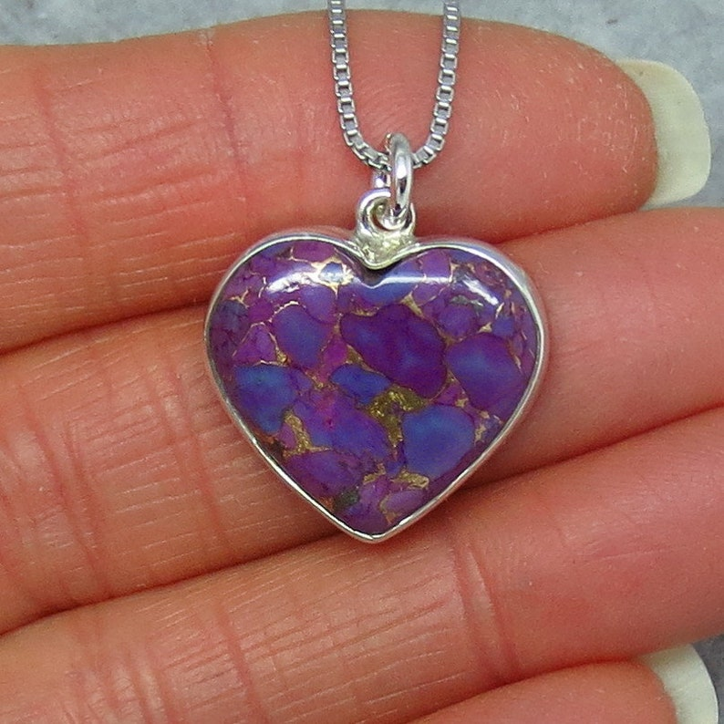 Tiny Sterling Silver Simple Dainty Petite Small Mojave Purple Copper Turquoise Heart Pendant Necklace su140901 Delicate