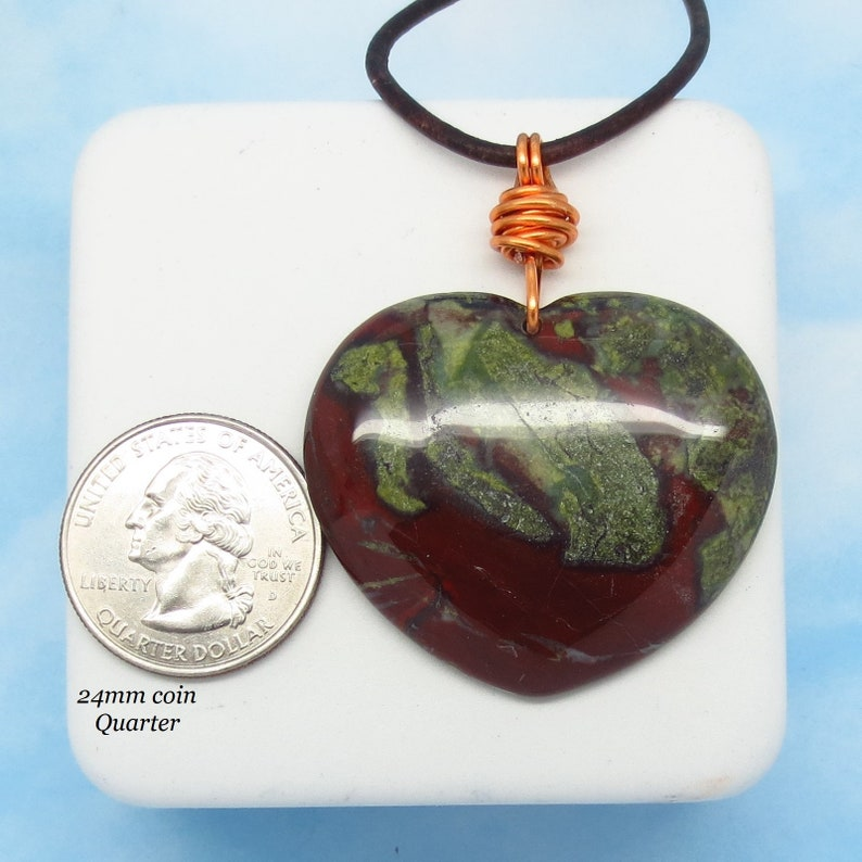 Boho Large Heart Genuine Leather /& Solid Copper Jasper 2 Natural Dragon Bloodstone Heart Pendant Necklace Heliotrope nk2
