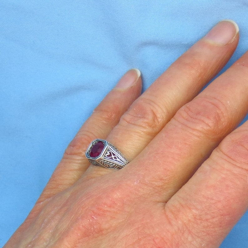 Size 6 34-1.0ct Dainty Sterling Silver Gothic Reproduction Round in Square Genuine Ruby Victorian Filigree Ring