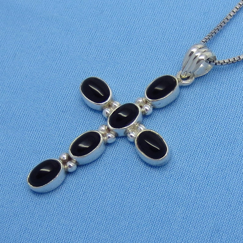 Oxidized Large Antiqued Sterling Silver c141208 Genuine Black Onyx Byzantine Cross Pendant or Necklace