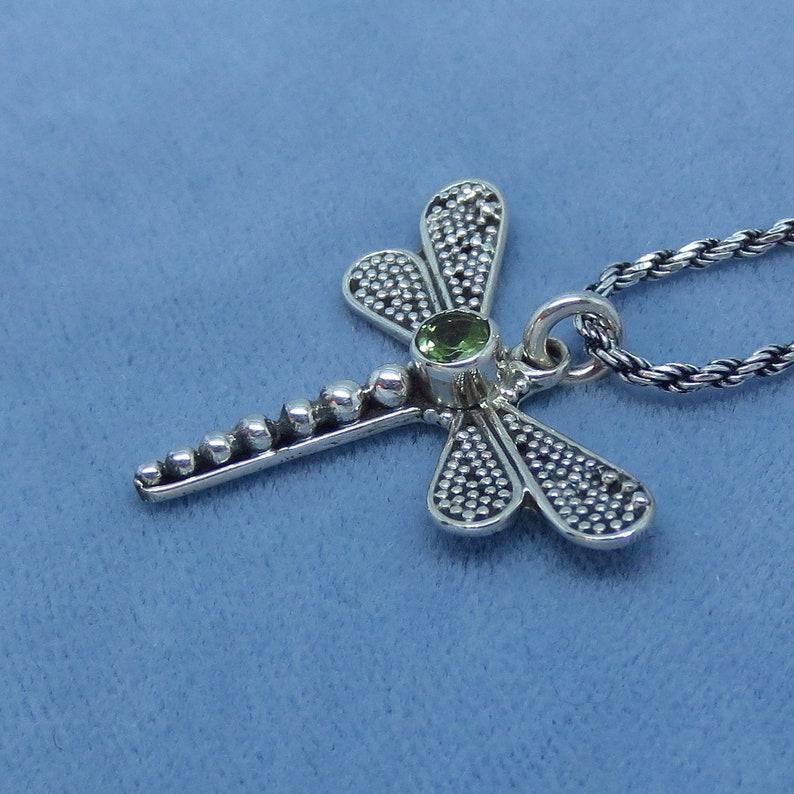 Bali Design su140606 Genuine Peridot Dragonfly Necklace Sterling Silver