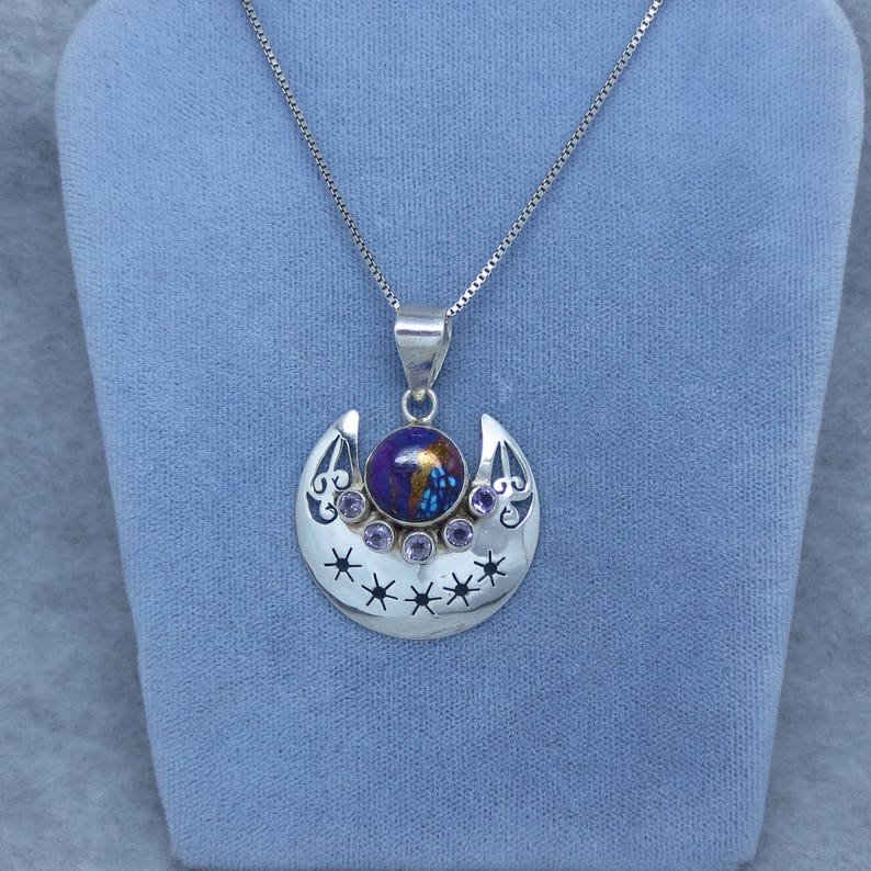 Boho SA161358 Mojave Purple Copper Turquoise /& Amethyst Pendant or Necklace 925 Sterling Silver Celestial Moon and Star