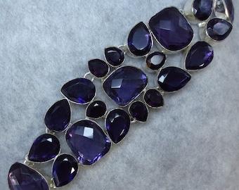 Genuine Amethyst Bracelet - Sterling Silver - Purple - Wide - SA174346 - Bracelet B