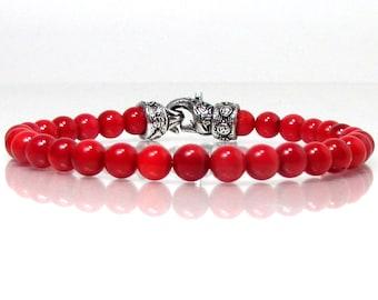Red Coral Bracelet 6mm with Clasp, Unisex Mens Women Bracelet, Natural Gemstone Bracelet, Beaded Bracelet, Gift for Men for Women + Gift Box