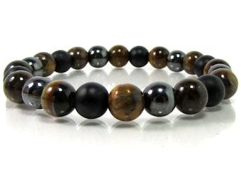 Onyx,Hematite and Tiger Eye Bracelet, Men Bracelet, Mens Gift,Mens Bracelet,Gift for Men,Men Gemstone Bracelet,Bracelet for Men,