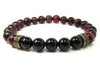 Onyx and Tiger Eye Bracelet, Men Bracelet, Mens Gift, Mens Bracelet, Men Gemstone Bracelet, Men Bracelet, , Beaded Bracelet
