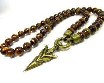 Tiger Eye Mens Necklace with Bronze Arrow-Head, ,Arrow-Head Necklace,Gift for Men,Men Gemstone Necklace + Gift Box,Mens Beaded Necklace