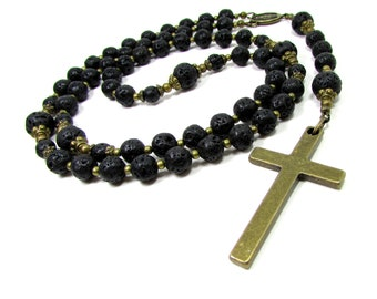 Volcanic Lava  Gemstone Rosary Necklace, Mens Cross Necklace, Gemstone Rosary, Beaded Rosary, Handmade Cross Necklace, Gift Box
