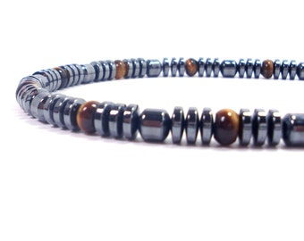 Hematite and Tiger eye, Mens Gift , Mens Necklace,Gift for Men, Men Gemstone Necklace, Men Choker, Beaded Necklace,Mens Beaded Necklace