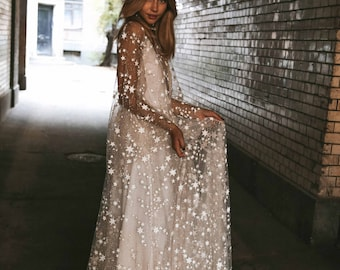 91a5b4b19fe1 Counting Stars Boho Wedding Dress by Boom Blush. Unique Vintage Bohemian  Backless Gown 2019 with Sleeves, Unique Lace and A Line Skirt