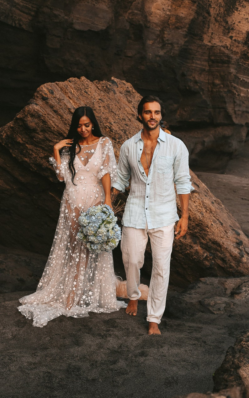 Counting Stars Boho Wedding Dress By Boom Blush Unique Vintage Bohemian Backless Gown 2019 With Sleeves Unique Lace And A Line Skirt