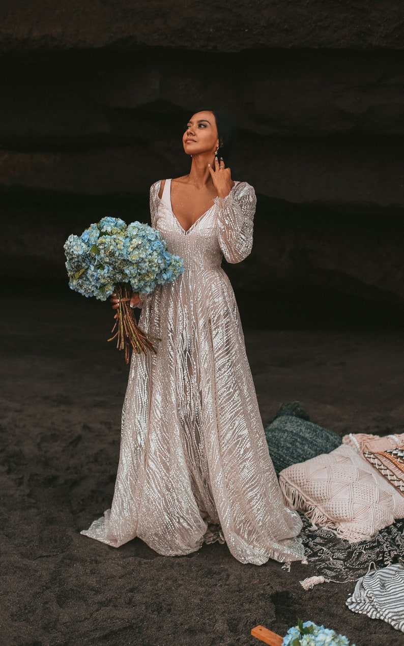 Galaxy By Boom Blus Sparkly Ivory Wedding Dress Unique Etsy