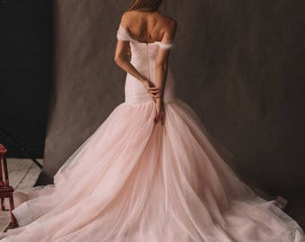 Pink wedding dress etsy unique pink wedding dress with ombre skirt off the shoulder colored disney mermaid wedding junglespirit Images