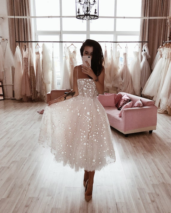 Wild Stars Ombre Midi Wedding Dress by Boom Blush. Sparkly Celestial  Wedding Gown with Stars and Sequins 10