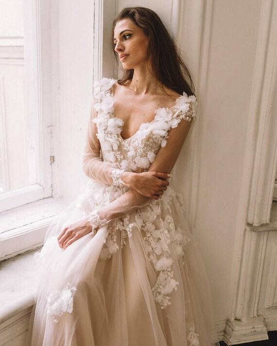 Unique Vintage Romantic Wedding Dress With 3d Flowers A Line Etsy