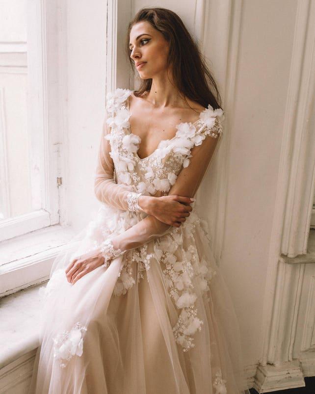 Unique vintage romantic wedding dress with 3d flowers a-line | Etsy