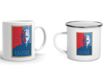 All Hail King Ragnar Lothbrok Mug - Viking Enamel Mug - Vikings Cup - Norse Drinkware