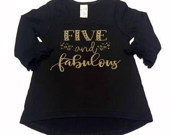 c31533c51b2 Five And Fabulous Glitter Hearts Ruffle Long Sleeve Shirt - Fifth Birthday  - 5th Birthday Shirt - Girls Glitter Shirt - Girls Ruffle Shirt