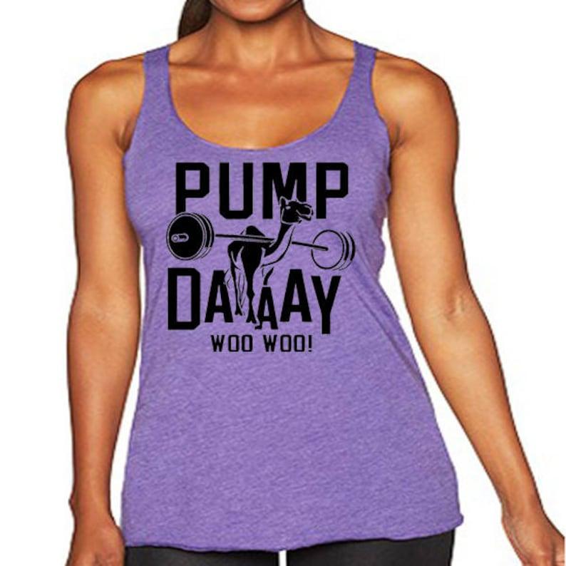 03438780 Pump Day Camel Tri-Blend Tank Top. Funny Workout Tanks. | Etsy