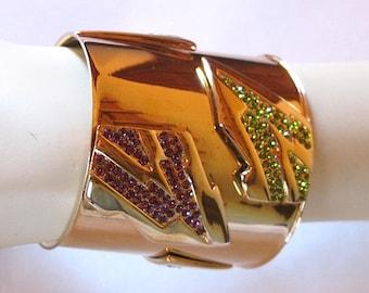 Jean Louis Scherrer Paris 1980 made in France vintage rhinestone Cuff Bracelet