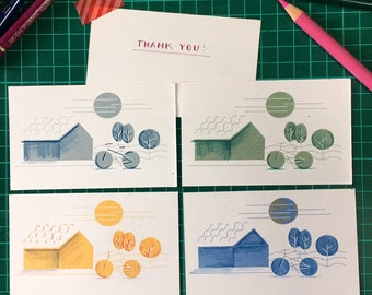 Small thank you cards pack of 5