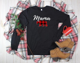 a7b3f24f Mama Bear // Buffalo Plaid // Holiday Shirts // Christmas // Mama // Plaid  // Mom // Mom Life // Mama Bear Long Sleeve //Papa Bear