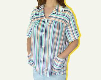 Vintage 90's Minimal Striped  Button Down Shirt